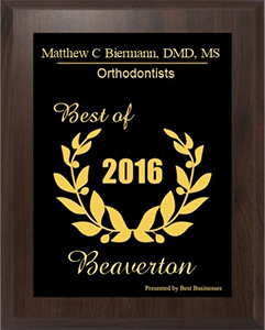 2016 Beaverton Small Business Excellence Award in the Orthodontists